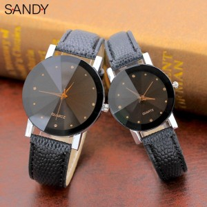 S&Y Fashion Plain Dial PU Leather Couple Watch