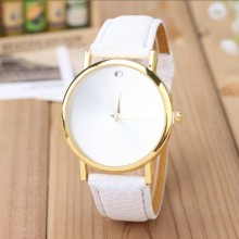 Fine Fashion Plain Dial Design PU Leather Wrist Watch Unisex
