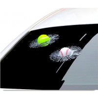 S&Y DIY 3D Baseball Sticker For Car Windscreen And Windows Baseball Hit Car