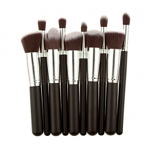 S&Y Professional 10 Pcs Make Up Brushes Set Kit Beauty Cosmetics Silver