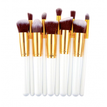 S&Y Professional 10 Pcs Make Up Brushes Set Kit Beauty Cosmetics White