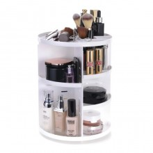 Premium 360 Degree Rotating Make Up Tools And Cosmetics Organiser White