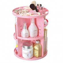 Premium 360 Degree Rotating Make Up Tools And Cosmetics Organiser Pink