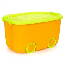Premium Multifunctions Stackable Toy Storage Box Organiser With Wheels Orange