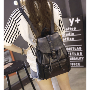 SANDY Drawstring Flap-Top Fashion Backpack Black