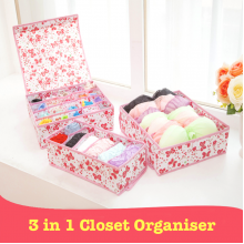 Sandy's 3 in 1 Wardrobe Floral Lingerie Organizer With Lid