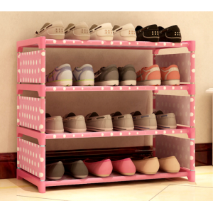 SANDY Polka Dot Canvas 4 Tier DIY Shoes Racks