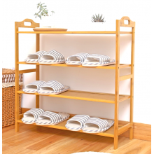 SANDY 100% Natural 4 Tiers Bamboo Shoe Bench Shoe Rack Organizer Entryway Storage Shelf