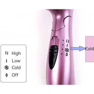 Justime Foldable 1200W Hair Dryer with Cold Warm Hot Air