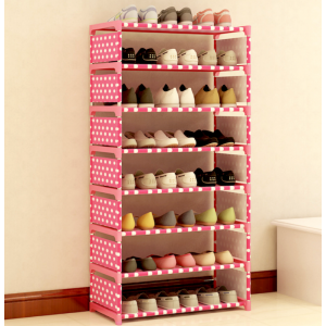 Sandy's Polka Dot Canvas 8 Tier DIY Shoes Racks