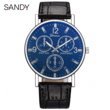 Sandy Men's Analog Watch with Black Pu Leather Strap