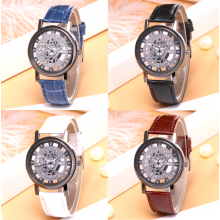 Shshd Men's See-Through Skeleton Watch with Pu Leather Strap