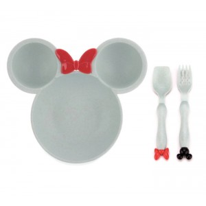 Cartoon Wheat Straw Baby Kids Dinner Plate And Cutlery Set Dinnerware