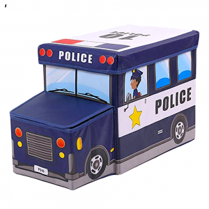 Sandy\'s Multipurpose Police Car School Bus Vehicle Toy Storage Box And Stool