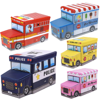 Sandy's Multipurpose Police Car School Bus Vehicle Toy Storage Box And Stool
