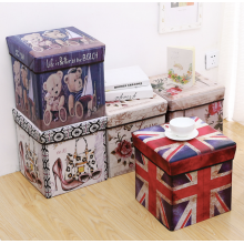 Sandy's Multipurpose Foldable Storage Box Stool Teddy Bear UK Paris Pattern