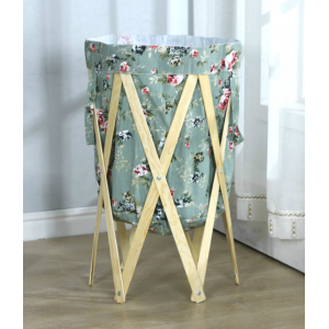 Sandy's Foldable Round Wooden Frame Laundry Basket Bin With Handle