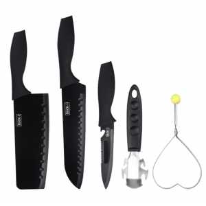 Black Stainless Steel 5 in 1 Kitchen Knife Set