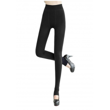 Winter Warm Women Velvet Elastic Leggings Pants Black
