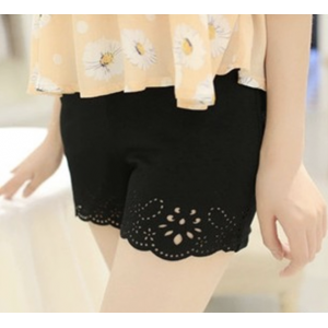 Laser Cut Edge Design Safety Pants Stretch Shorts for Women Girls