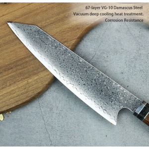 67 Layers Random Pattern Damascus Japanese Kiritsuke Knife Octagonal Resin Handle