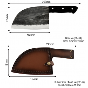 Hunter Serbian Chef Knife With Leather Sheath Holster Steel Kitchen Knives Cleaver Slicing Knives