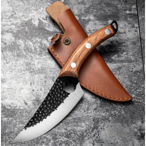 Hunter Serbian Knife With Forefinger Ring And Leather Sheath Butcher Knife Holster